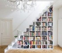 books under stairs