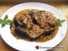 Eggplants with xynohondro (sour chunk) trahana Filo Pastry, Food Website, Greek Recipes, Tasty Dishes, Tray Bakes, Feta, Dessert Recipes, Desserts, Pork