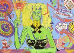 """""""Mujer Moet & Chandon en Las Vegas"""". En los años 80 realicé un dibujo previo a esta imagen para un concuso de un cava, ¡cuyo ganador tenía el mismo apellido que la marca! En 2012 recuperé el boceto y lo subí de categoría ¡Champán!"""