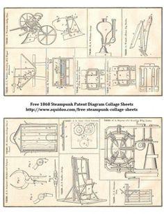 Free Digital Collage Sheet - Steampunk Contraption Illustrations - Printable Ephemera