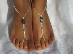 Emerald barefoot sandals with Swarovski crystals.     $29.99, via Etsy