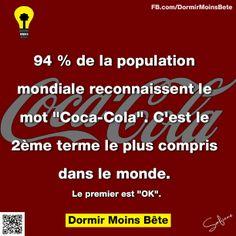 """94 de la population mondiale reconnaissent le mot """" Coca-Cola"""". C'est le 2 ème terme le plus compris dans le monde. Le premier est """"OK""""."""