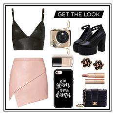 """""""Glam"""" by kenziemaxwell on Polyvore featuring Michelle Mason, T By Alexander Wang, Chanel, Casetify, Chantecler, Charlotte Tilbury, asymmetricskirts and 60secondstyle"""