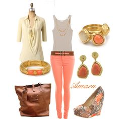 Coral cream casual, created by Amara on Polyvore