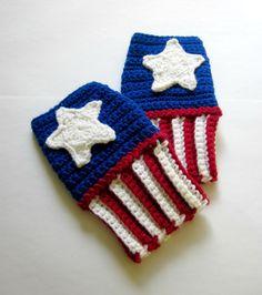 Power Wristies Captain America Inspired Wristwarmers by Nerdifacts. , via Etsy.