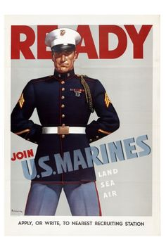 Ready - Join U.S. Marines - 10x15 Vintage WWII Poster Art Print - Professional Paper, Archival Ink, Shipped Flat, Fits Standard Size Frame by vintagaposters on Etsy https://www.etsy.com/listing/100812600/ready-join-us-marines-10x15-vintage-wwii