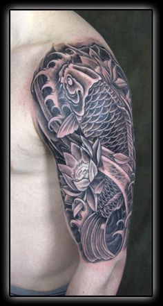 Black n Grey Ink Koi Fish Half Sleeve Tattoo Design