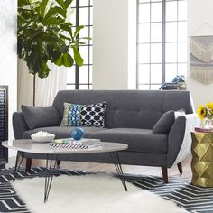 Amelie Mid-Century Modern Loveseat by Elle Decor Coastal Living Rooms, Small Living Rooms, Living Room Designs, Living Room Furniture, Modern Furniture, Living Room Decor, Furniture Vintage, Salon Mid-century, Mid Century Modern Loveseat