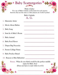"""Scattergories Baby Shower Edition!! This will be hilarious!!! Especially since the baby name begins with a """"Q""""!!!"""