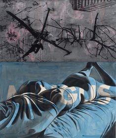David Salle, Mingus, 2010. Oil and acrylic on canvas, oil and silkscreen on galvanized steel. 76 x 64 inches