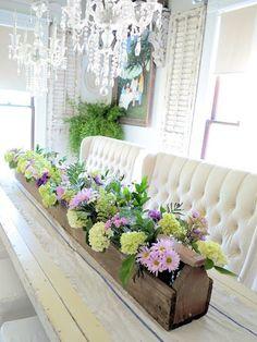 Farmhouse luxe/flower trough