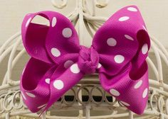 Handcrafted Polka Dot Boutique Bow.  Wildberry hair bow with dots.