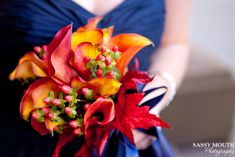 My wedding flowers! Navy bridesmaid dress - Fall flowers - Orange, red leaf, yellow - Sassy Mouth Photography
