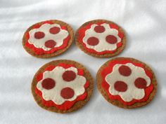 Pepperoni Pizza Felt Coasters Hostess Gift by HeartStringsHandmade