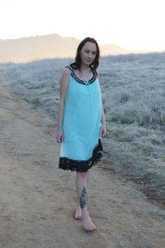 JULEP Vintage 1960 s Teal Nightie Night Gown Slip Dress 1960-talet 081ea5af064ad