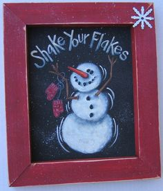 Shake Your Flakes Tole Painting Pattern by barbsheartstrokes, $4.00 Christmas Snowman, Winter Christmas, Christmas Holidays, Christmas Decorations, Christmas Ornaments, Christmas Rock, Country Christmas, Winter Porch, Christmas Canvas