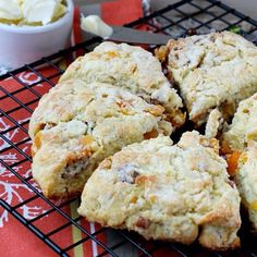 Apricot Pecan Scone:️1/3 cup granulated sugar ️2 cups all purpose flour ️1 tsp baking powder ️1/4 tsp baking soda ️1/2 tsp salt ️8 Tablespoons butter, frozen ️1/2 c Greek yogurt (sour cream may be substituted for the yogurt) ️1 large egg ️1 cup dried apricots, chopped ️1 cup pecans, chopped - heat oven to 400 degrees/bake for 20-23 min