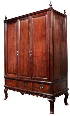 Three-door Aparador, c. late century (Balayong, Boxwood, Brass and Wrought-Iron) Closet Designs, Furnitures, Wrought Iron, Antique Furniture, 18th Century, Closets, Cabinets, Brass, Antiques