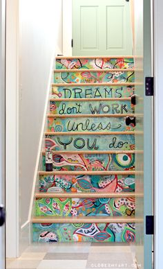 Stair art hand painted on MDF and then installed. Much easier (and less permanent) than painting directly on the stair risers! By Michelle Allen this would be awesome on a staircase leading to my craft room! Stair Art, Diy Stair, Painted Stairs, Wooden Stairs, Painted Staircases, Painted Floors, Stairway To Heaven, Home And Deco, My New Room