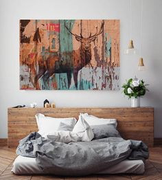 Extra Large Rustic Animal Canvas Art Print up to Large Rustic Deer Farmhouse Canvas Wall Art by Irena Orlov Acrylic Painting Canvas, Canvas Art Prints, Painting Prints, Canvas Wall Art, Rustic Wall Art, Wall Art Decor, Large Artwork, Your Paintings, Deer