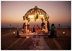 Sunset wedding on the beach in Goa, India. I'm not Indian but the set up is gorgeous