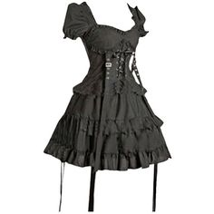 Partiss Women's Black Cotton Gothic Lolita One-Piece Dress (€64) ❤ liked on Polyvore featuring dresses, gothic lolita dress, goth dresses, gothic clothing dresses, gothic dresses and cotton cocktail dress