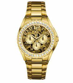 G by GUESS Women's Gold-Tone Animal Print Glitz Sport Watch