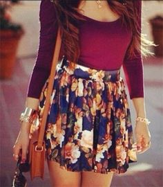 Outfits with vintage floral skater skirt