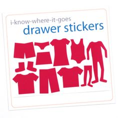 How cute are these? Little stickers to go on drawers to help kids put clothes away in the right spots.
