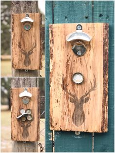 Wall Mount pallet wood Deer Silhouette Stag Deer Head Bottle Opener with Magnetic Catcher/Wall mounted/Beer/Soda/Home Decor by RedWolfRustics on Etsy https://www.etsy.com/listing/492476198/wall-mount-pallet-wood-deer-silhouette