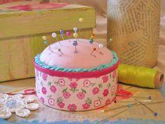 Tuna Can Pincushion diy... http://sewcraftlicious.blogspot.com/2011/07/tuna-can-pincushion.html