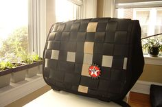 car safety belt & tire tube messenger bag
