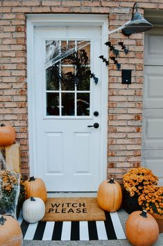 DIY Halloween Door Mat + Front Porch | House On Longwood Lane
