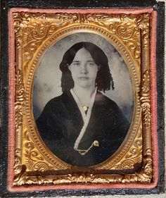 1/9 Plate Ruby Ambrotype of a woman who was probably a member  of the Fitzhugh family of Gloucester County, Virginia.