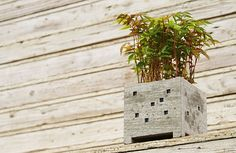 Japanese design, and craft studio Pull + Push has created a collection of adorable flower pots in the shape of miniature buildings. Miniature, Cement Planters, Most Beautiful Gardens, Concrete Design, Concrete Walls, Beautiful Candles, Japanese Design, Garden Accessories, Summer Garden