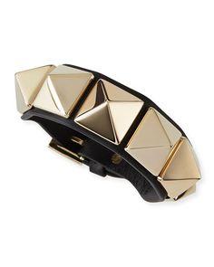 Valentino Va Va Voom Leather Rockstud Bracelet, Black