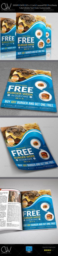 Burger Restaurant Flyer Vol.2  #GraphicRiver                               Flyer Description: Burger Restaurant Flyer Vol.2 was designed for exclusively corporate and small scale companies.