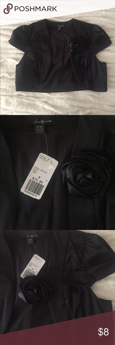 Silk-like Cropped Jacket Brand new with tags forever 21 cropped jacket.  Detachable rose pin.  Cute over tank tops with black dress pants or a skirt!                                                       55% polyester 42% cotton 3% spandex hand wash cold, lay flat to dry Forever 21 Jackets & Coats Blazers