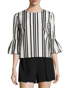 Bernice+Striped+Ruffle-Sleeve+Top,+Black/White+by+Alice+++Olivia+at+Neiman+Marcus.