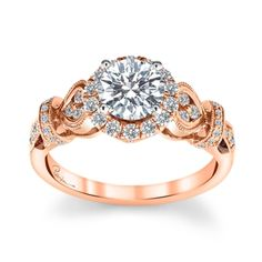 Peter Lam Luxury 14K Rose And White Gold Halo Diamond Engagement Ring Setting 1/2 Cttw.