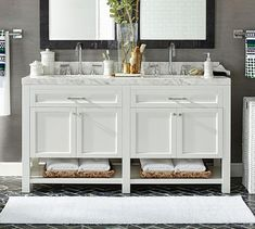 A fresh design for the bath, our Piedmont Double Sink Vanity combines simple straight lines with inset panels for a classic touch. Honed Carrara marble and polished-nickel hardware accent the solid poplar frame, offering both open and closed stora… Bathroom Vanity Tops, Bathroom Cabinets, White Bathroom, Bathroom Fixtures, Bathroom Furniture, Master Bathroom, Bathroom Ideas, Double Sink Small Bathroom, Office Bathroom