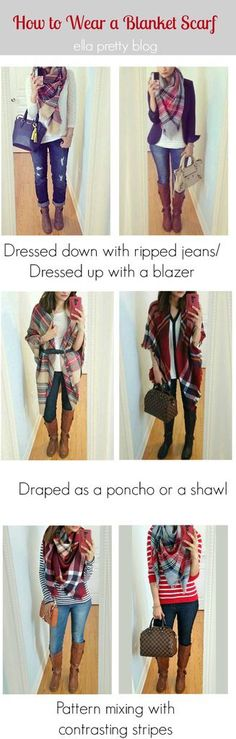 Different ways to wear a blanket scarf