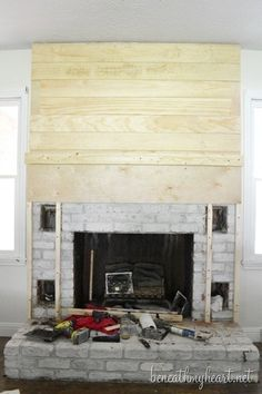 Amazing Ideas Can Change Your Life: Fake Fireplace Accessories faux fireplace vintage.Poured Concrete Fireplace painted fireplace with built ins. Tv Above Fireplace, Build A Fireplace, Fireplace Update, Fireplace Bookshelves, Paint Fireplace, Fake Fireplace, Shiplap Fireplace, Concrete Fireplace, Farmhouse Fireplace