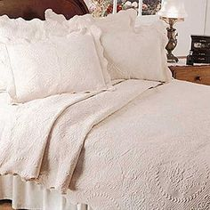 Matelasse Coverlet in English Rose This bedspread from Europa Fine Linens is the perfect addition to any bedroom. English Rose pattern, jacquard woven with a scalloped hem. What's New in Bed and Bath - Snows Home and Garden