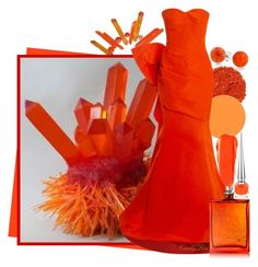 """Orange Spikes"" by itscindylou ❤ liked on Polyvore featuring Bling Jewelry, Christian Louboutin, NARS Cosmetics, Oscar de la Renta and The Beautiful Mind Series"