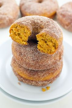 Soft and Fluffy Pumpkin Cinnamon Sugar Donuts (Includes vegan version)! Baked, not fried, these are ready in 20 minutes!