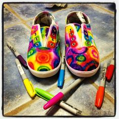 DIY tie dyed shoes. Get a pair of plain white canvas shoes (walmart $5) and use sharpies to make the designs. Then using a dropper, drop rubbing alcohol onto the ink to make it spread. After you're finished and the alcohol on the shoes has dried, place them in the dryer on high heat for 15 minutes to set the color.