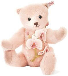 "STEIFF LAELIA ORCHID    Steiff ""Button in Ear"" Teddy Bear Handcrafted in Germany.  The Paradise Jungle Collection.  U$250"