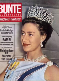 From Bunte magazine, Princess Margaret wearing the Poltimore Tiara and the Teck Circle necklace. Princesa Margaret, Royal Princess, Princess Diana, Poltimore Tiara, Bambi, Queen's Sister, Queen Victoria Family, Margaret Rose, Royal Jewelry