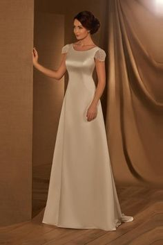 Elegant Satin Wedding Dresses with Cap Sleeves – Angrila Elegant Wedding Dress, Dream Wedding Dresses, Wedding Gowns, Lace Weddings, Homecoming Dresses, Bridesmaid Dresses, Affordable Prom Dresses, Perfect Prom Dress, Fantasy Dress